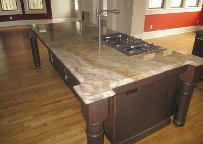 Kitchen Island with One Piece Granite Slab