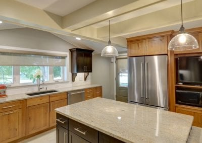 Beautiful Kitchen with Vaulted Ceiling and Beam Detail