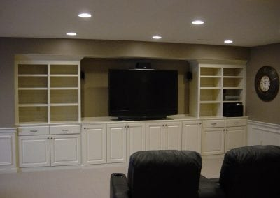 Custom built-ins installed for TV and equipment along with plenty of storage.