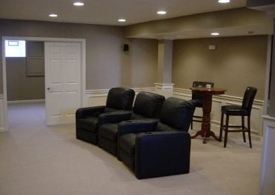 Seating for viewing in theater room