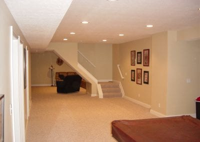 Open stairway really makes the room feel more spacious