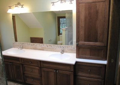 Great use of addition storage in master vanity cabinets