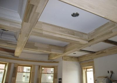 Spectacular beams in dinning room ceiling.