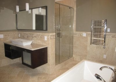 looking from the freestanding tub towards the master shower area. Check out the towel warmer on the
