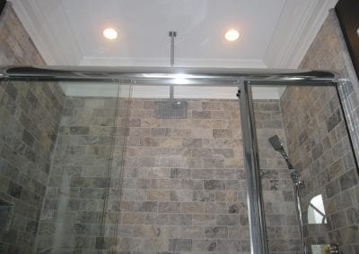 Spa like feel with the ceiling mount shower head.